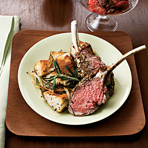 http://www.myrecipes.com/recipe/herb-crusted-rack-of-lamb-with-rosemary-potatoes